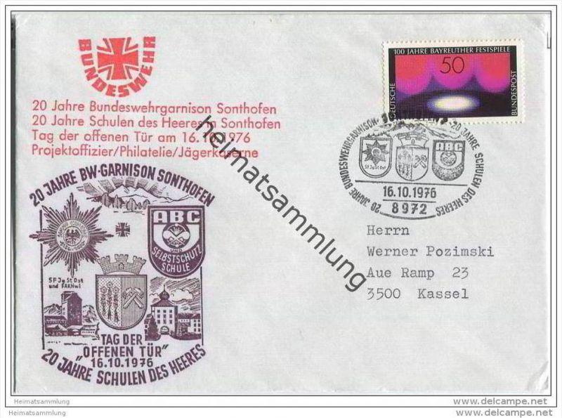 Brief Bundeswehr Garnison Sonthofen - 20 Jahre BW-Garnison - 16. Oktober 1976