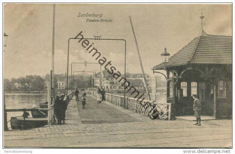 Sonderburg - Sonderborg - Ponton-Brücke - Verlag Julius Simonsen Oldenburg