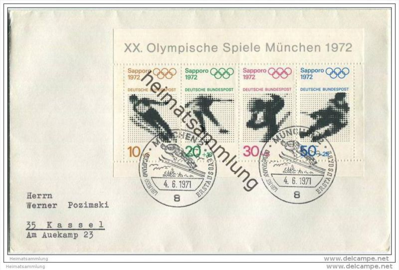 Ersttags-Brief mit Block Olympische Spiele 1972 - 4. Juni 1971