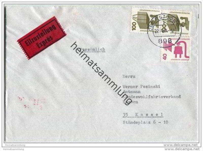 Brief Eilzustellung mit Marken Unfall - 22. April 1974