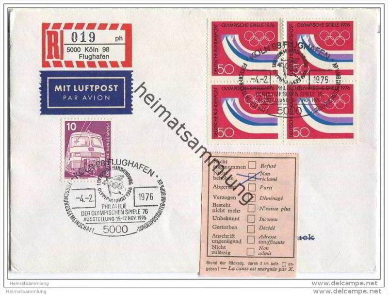 Brief Köln Flughafen - Philatelie der Olympischen Spiele 76 - Aufkleber - 4. Februar 1976