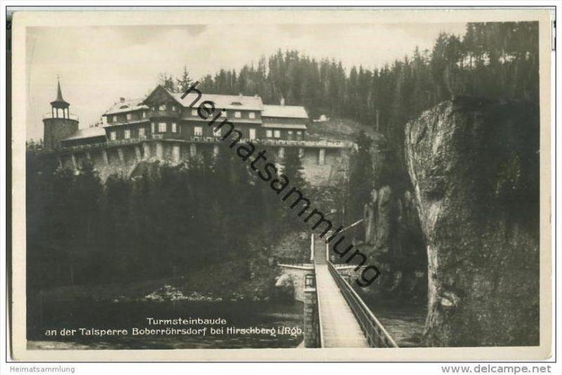 Turmsteinbaude an der Talsperre Boberröhrsdorf bei Hirschberg - Foto-AK 20er Jahre