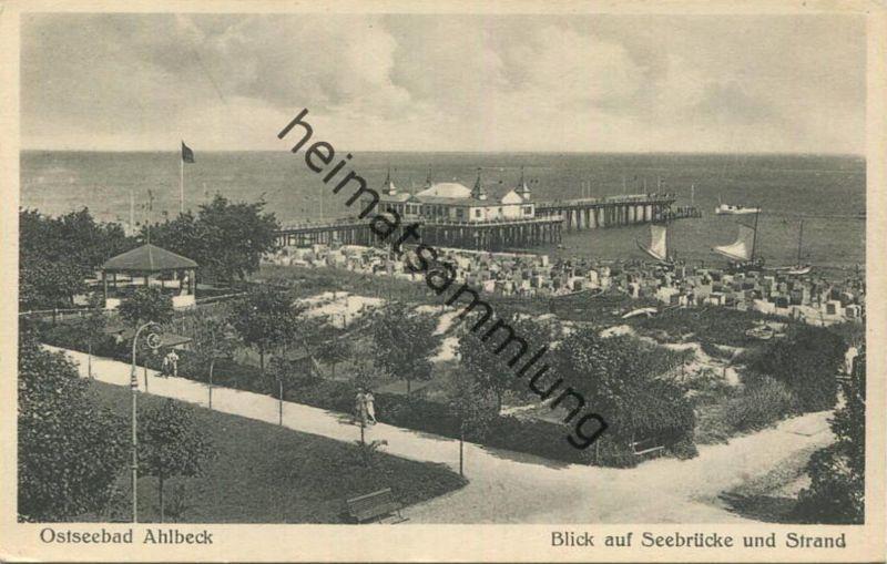 Ahlbeck - Blick auf Seebrücke und Strand - M. Hertzfeldt Stettin