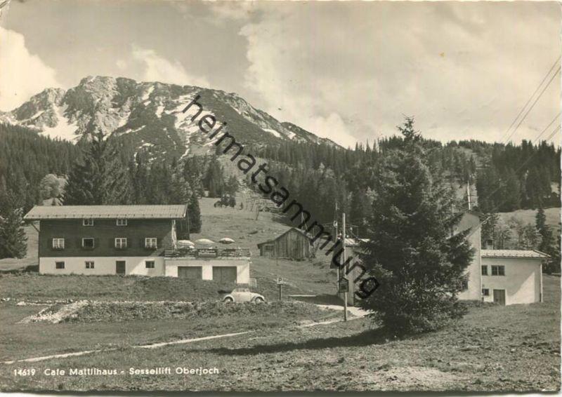 Cafe Mattlihaus am Iseler - Sessellift Oberjoch - Foto-AK Grossformat - gel. 1957
