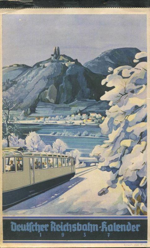 Reichsbahn-Kalender 1937 - vollständiges Exemplar - Gebrauchsspuren - Karton auf der Rückseite fehlt - angestaubt