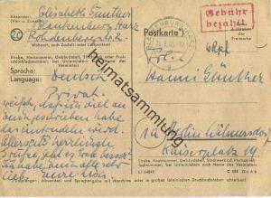 Postkarte aus Blankenburg vom 24.08.1945 mit 'Gebühr bezahlt' Stempel B5e in rot '6 Rpf'