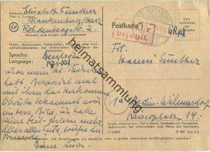 Postkarte aus Blankenburg/Harz vom 27.08.1945 mit 'Gebühr bezahlt' Stempel B5e in rot '6 Rpf'