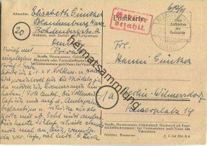 Postkarte aus Blankenburg/Harz vom 03.09.1945 mit 'Gebühr bezahlt' Stempel B5e in rot '6 Rpf'