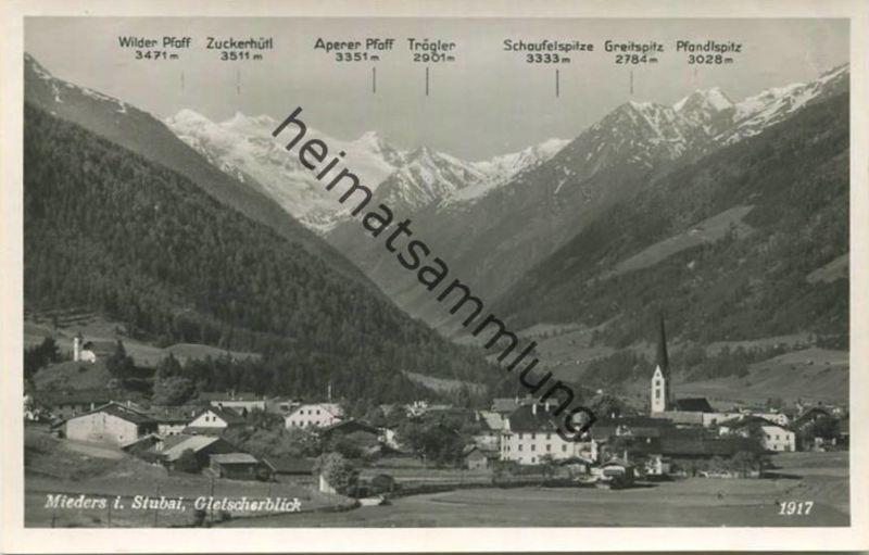 Mieders - Gletscherblick - Foto-AK - Tiroler Kunstverlag Innsbruck