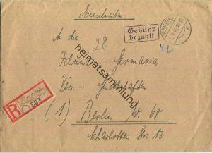 R-Brief aus (19) Raguhn vom 15.08.1945 mit 'Gebühr bezahlt' Stempel B5a in schwarzviolett '42' - Blanko R-Zettel