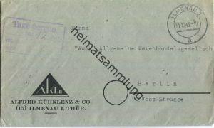 Brief aus Ilmenau 1 vom 31.10.1945 mit 'Taxe percue' vierzeilig G14 in violett '12'