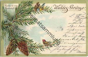 Waldes-Grüsse - Postkarte mit Tannenduft - Verlag J. C. Schmidt