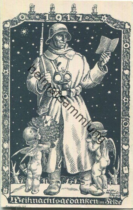 Weihnachtsgedanken im Felde - Gasmaske - Engelchen mit Stahlhelm - Künstlerkarte signiert Willi Münch-Khe