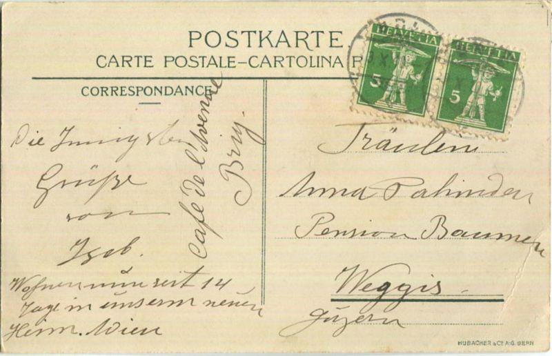 Flug über die Alpen Brig-Mailand September 1910 - Künstlerkarte Werlen - Verlag Hubacher & Co. Bern 1