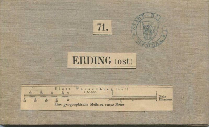 71 Erding Ost - Topographische Karte von Bayern ( Bayerische Generalstabskarte) 1:50'000 43cm x 52cm auf Leinen gezogen