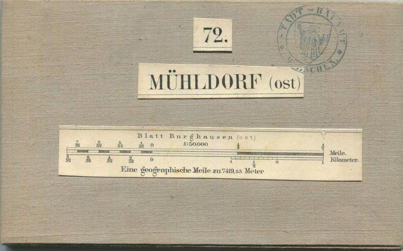 72 Mühldorf Ost - Topographische Karte von Bayern ( Bayerische Generalstabskarte) 1:50'000 43cm x 52cm auf Leinen gezoge