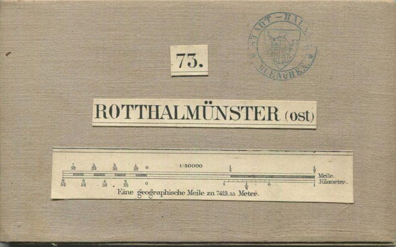 73 Rotthalmünster Ost - Topographische Karte von Bayern ( Bayerische Generalstabskarte) 1:50'000 43cm x 52cm auf Leinen