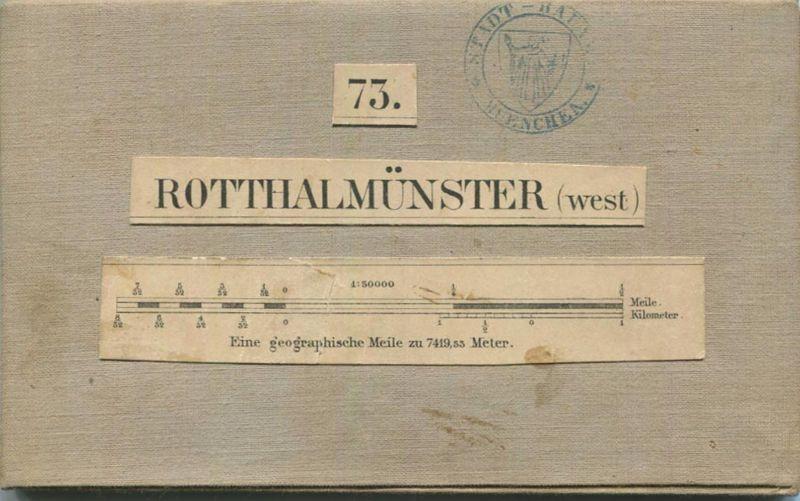 73 Rotthalmünster West - Topographische Karte von Bayern ( Bayerische Generalstabskarte) 1:50'000 43cm x 52cm auf Leinen