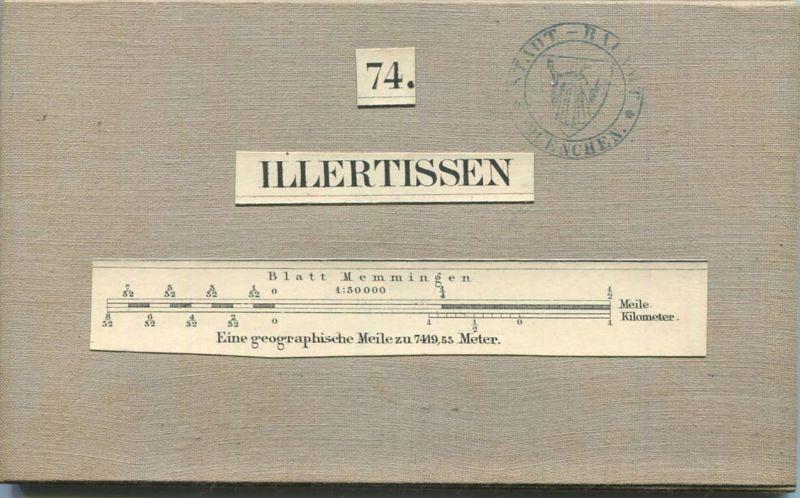 74 Illertissen - Topographische Karte von Bayern ( Bayerische Generalstabskarte) 1:50'000 43cm x 52cm auf Leinen gezogen