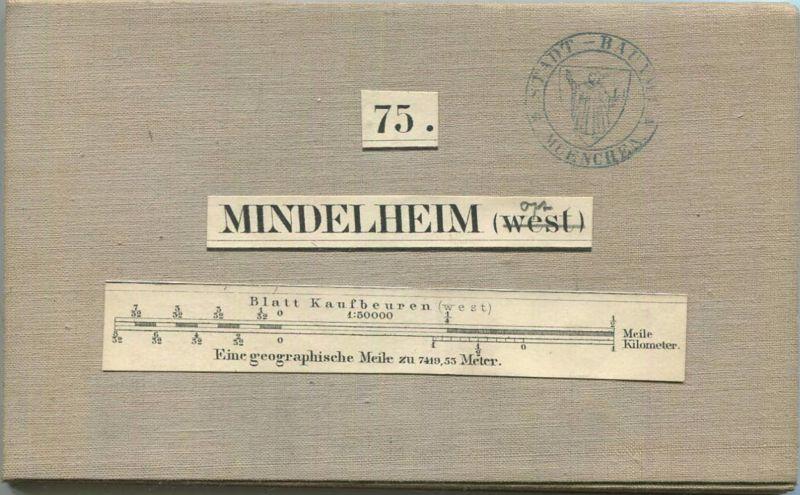75 Mindelheim Ost - Topographische Karte von Bayern ( Bayerische Generalstabskarte) 1:50'000 43cm x 52cm auf Leinen gezo