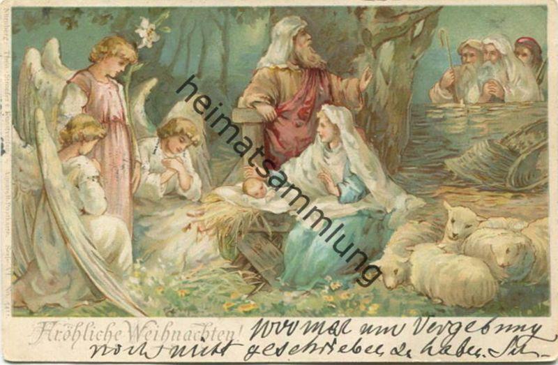 Fröhliche Weihnachten - Engel - Maria und Josef mit Jesuskind im Stall gel. 1898 0