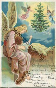 Fröhliche Weihnachten - Engel - Kind - Weihnachtsbaum - gel. 1904