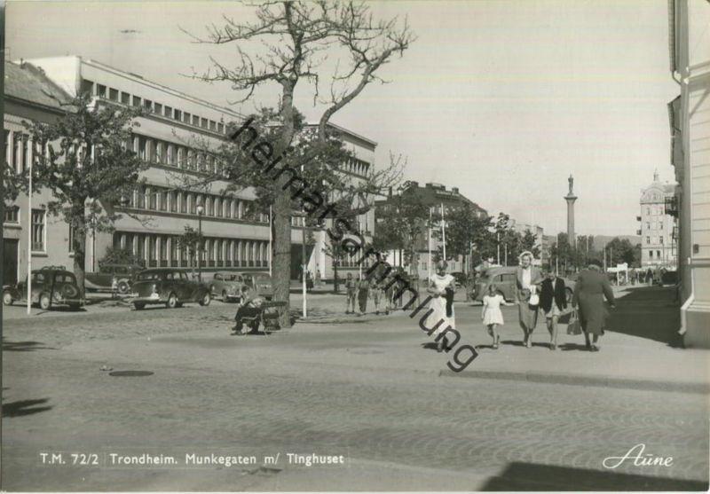 Trondheim - Munkegaten m/ Tinghuset - Foto-Ansichtskarte 50er Jahre - Verlag Knut Aune Trondheim