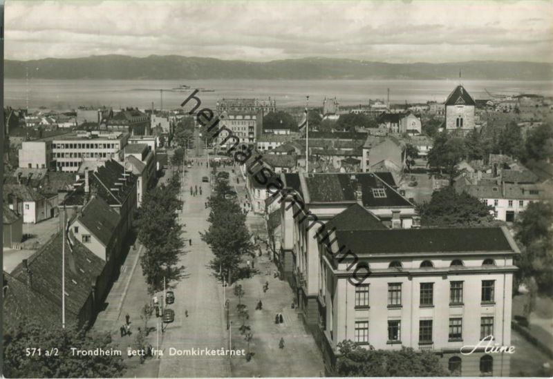 Trondheim - set fra Domkirketarnet - Foto-Ansichtskarte 50er Jahre - Verlag Knut Aune Trondheim