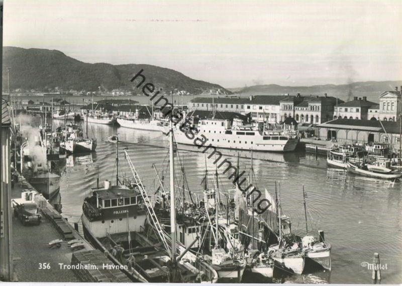 Trondheim - Havnen - Foto-Ansichtskarte 50er Jahre - Verlag Mittet & Co A/S Oslo