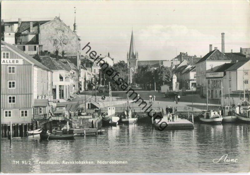 Trondheim - Ravnklobakken - Nidarosdomen - Foto-Ansichtskarte 50er Jahre - Verlag Knut Aune Trondheim