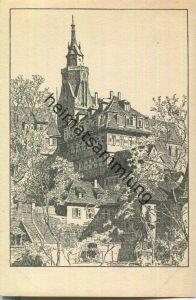 Stiftskirche und Alte Aula - Federzeichnung - Künstlerkarte signiert Otto Ubbelohde - Verlag Alexander Fischer Tübingen
