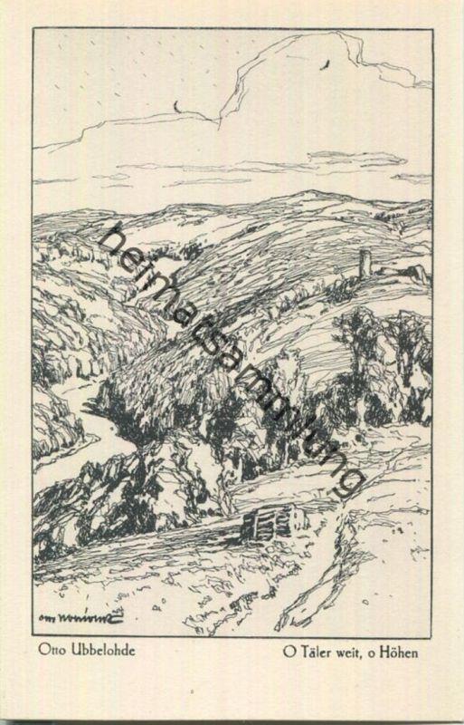 O Täler weit o Höhen - Aus dem Buche Meine Heimat - Künstlerkarte signiert Otto Ubbelohde - Verlag Hermann A. Wiechmann