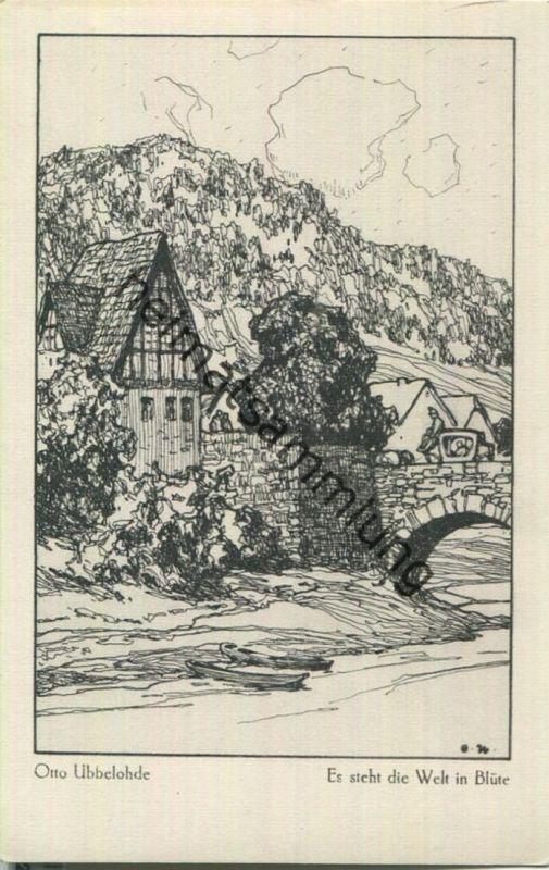 Es steht die Welt in Blüte - Aus dem Buche Meine Heimat - Künstlerkarte signiert Otto Ubbelohde