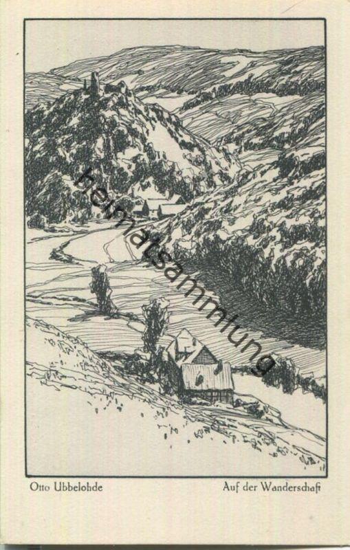 Auf der Wanderschaft - Aus dem Buche Meine Heimat - Künstlerkarte signiert Otto Ubbelohde - Verlag Hermann A. Wiechmann