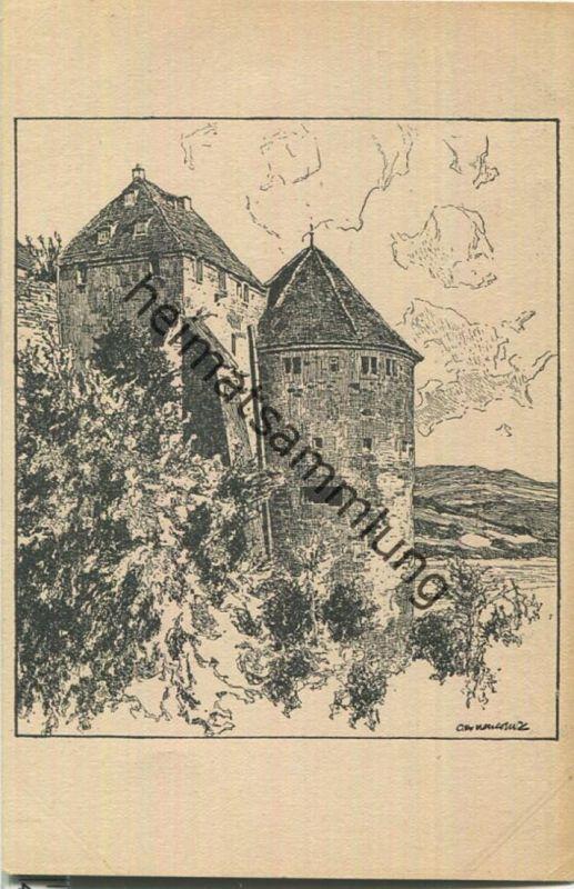 Partie am Schloss - Federzeichnung - Künstlerkarte signiert Otto Ubbelohde - Verlag Alexander Fischer Tübingen