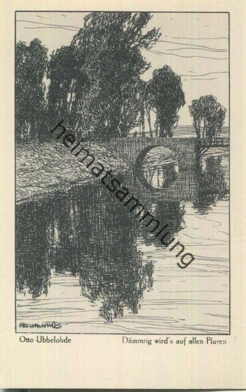 Dämmrig wird's auf allen Fluren - Aus dem Buche Meine Heimat - Künstlerkarte signiert Otto Ubbelohde