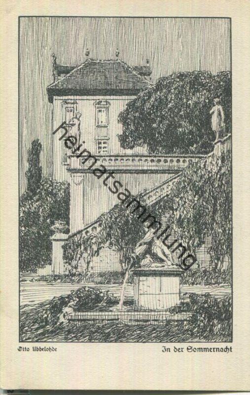 In der Sommernacht - Aus der Mappe Deutsche Sehnsucht - Künstlerkarte signiert Otto Ubbelohde