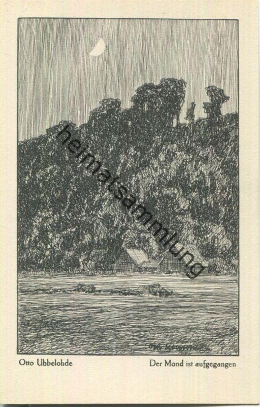 Der Mond ist aufgegangen - Aus dem Buche Meine Heimat - Künstlerkarte signiert Otto Ubbelohde