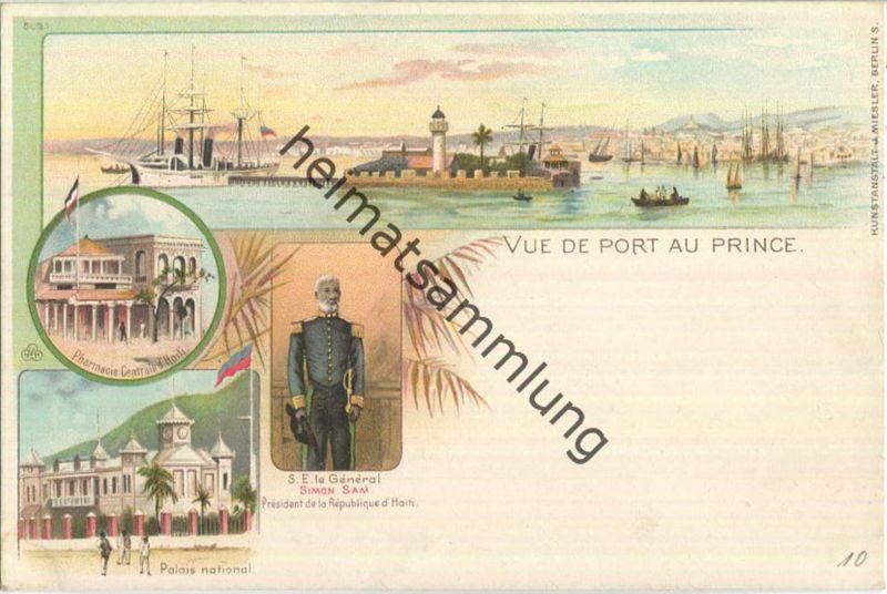 Haiti - Port au Prince - Parmacie Centrale - Palais national - Verlag J. Miesler Berlin ca. 1895