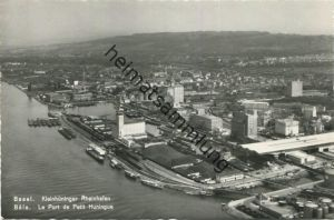 Basel - Luftaufnahme - Kleinhüninger Rheinhafen - Foto-AK 60er Jahre - Verlag Photoglob-Wehrli Zürich