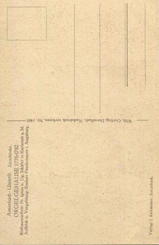 Amorbach - Abteikirche - Orgel - Verlag Wilh. Gerling Darmstadt 1