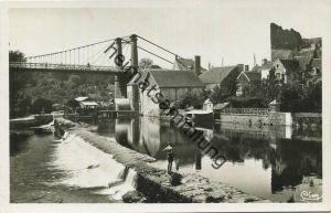Beaumont-sur-Sarthe - Sarthe - La Sarthe et le Pont suspendu - Foto-AK 1940
