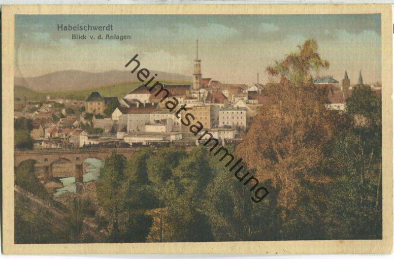 Habelschwerdt - Bystrzyca Klodzka - Blick von den Anlagen - Eisenbahn - Viadukt