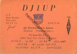 QSL - Funkkarte - DJ1UP - Würselen-Broichweiden - 1958