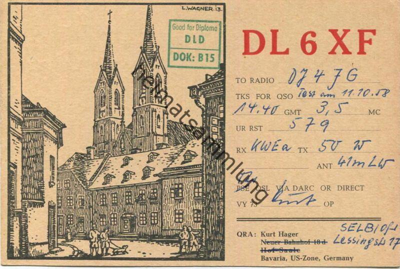 QSL - Funkkarte - DL6XF - Hof - 1958