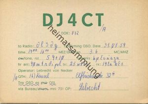 QSL - Funkkarte - DJ4CT - Kassel - 1959