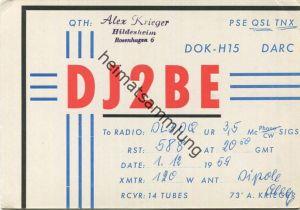 QSL - Funkkarte - DJ2BE - Hildesheim - 1959