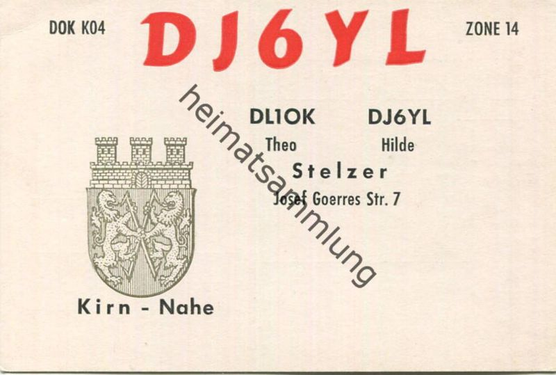 QSL - Funkkarte -DJ6YL - Kirn - 1961