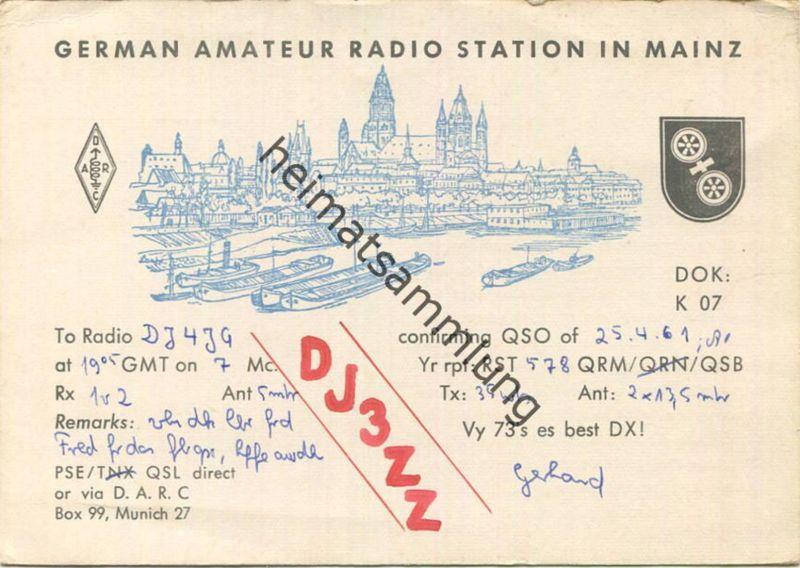 QSL - Funkkarte - DJ3ZZ - Mainz - 1961