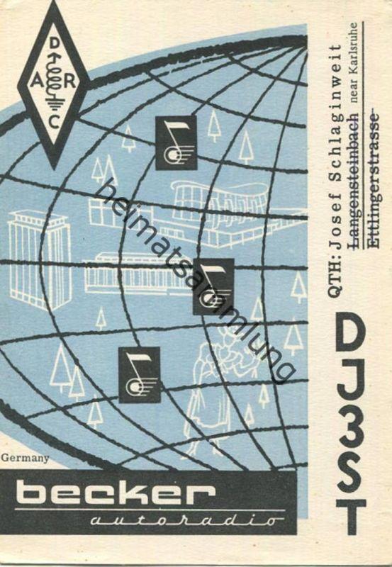 QSL - Funkkarte - DJ3ST - Kuppenheim - Werbung Autoradio Becker - 1959